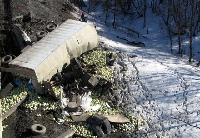 На трассе М-5 два грузовика упали с моста (ФОТО)