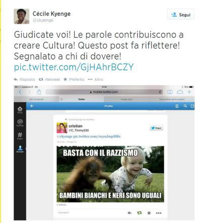 Бывший чернокожий министр Италии перепостила расистский твит (ФОТО)
