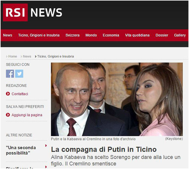 Новый Регион: Западные СМИ: Кабаева родила очередного ребенка для Путина